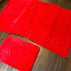 ROMANY WASHABLES GYPSY MATS 4PC SETS NON SLIP GERMAN BOARDER DESIGN RED RUGS NEW